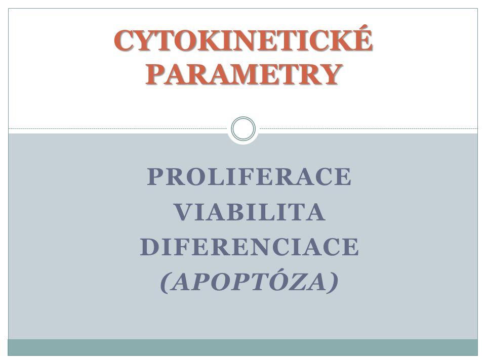 PROLIFERACE VIABILITA DIFERENCIACE (APOPTÓZA) CYTOKINETICKÉ PARAMETRY