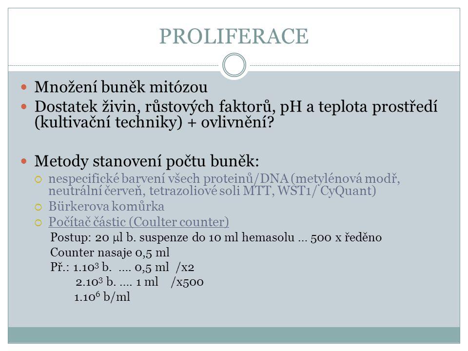 PROLIFERACE Množení buněk mitózou Dostatek živin, růstových faktorů, pH a teplota prostředí (kultivační techniky) + ovlivnění? Metody stanovení počtu