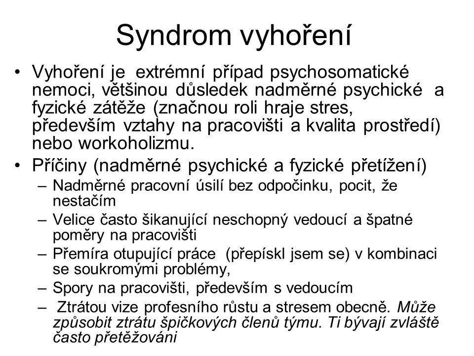 Syndrom vyhoření Vyhoření je extrémní případ psychosomatické nemoci, většinou důsledek nadměrné psychické a fyzické zátěže (značnou roli hraje stres,