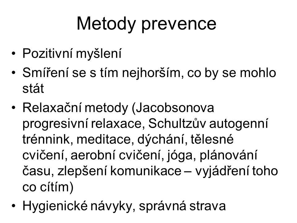 Metody prevence Pozitivní myšlení Smíření se s tím nejhorším, co by se mohlo stát Relaxační metody (Jacobsonova progresivní relaxace, Schultzův autogenní trénnink, meditace, dýchání, tělesné cvičení, aerobní cvičení, jóga, plánování času, zlepšení komunikace – vyjádření toho co cítím) Hygienické návyky, správná strava
