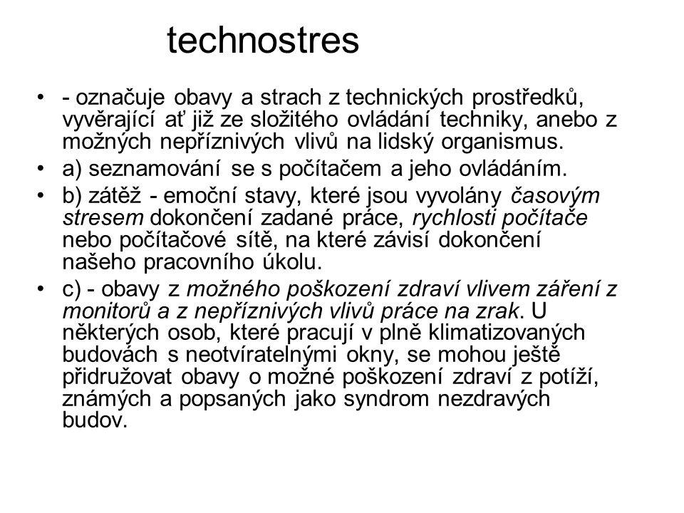technostres - označuje obavy a strach z technických prostředků, vyvěrající ať již ze složitého ovládání techniky, anebo z možných nepříznivých vlivů n