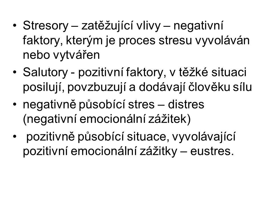 Stresory – zatěžující vlivy – negativní faktory, kterým je proces stresu vyvoláván nebo vytvářen Salutory - pozitivní faktory, v těžké situaci posilují, povzbuzují a dodávají člověku sílu negativně působící stres – distres (negativní emocionální zážitek) pozitivně působící situace, vyvolávající pozitivní emocionální zážitky – eustres.