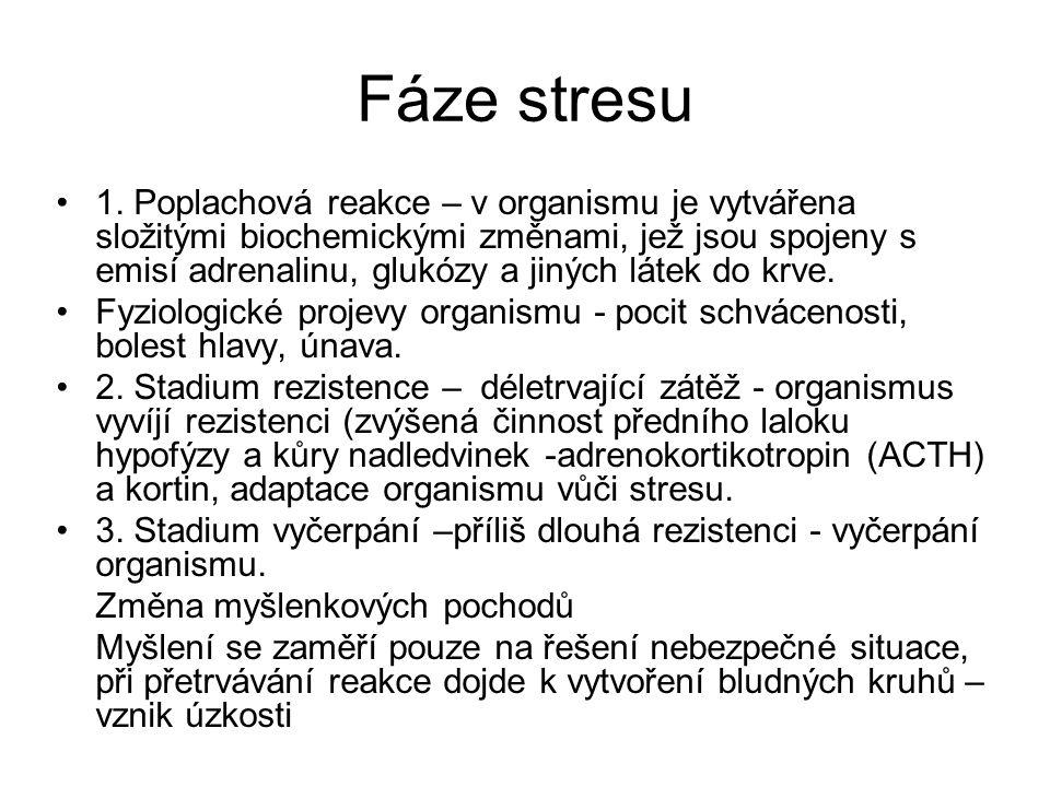 Fáze stresu 1. Poplachová reakce – v organismu je vytvářena složitými biochemickými změnami, jež jsou spojeny s emisí adrenalinu, glukózy a jiných lát