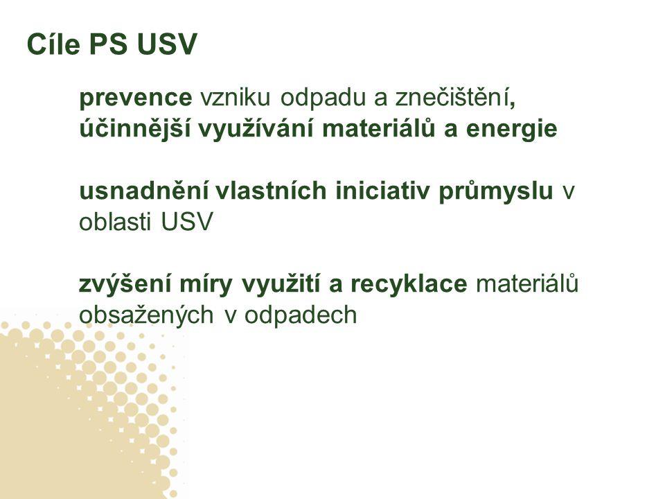 Cíle PS USV prevence vzniku odpadu a znečištění, účinnější využívání materiálů a energie usnadnění vlastních iniciativ průmyslu v oblasti USV zvýšení míry využití a recyklace materiálů obsažených v odpadech