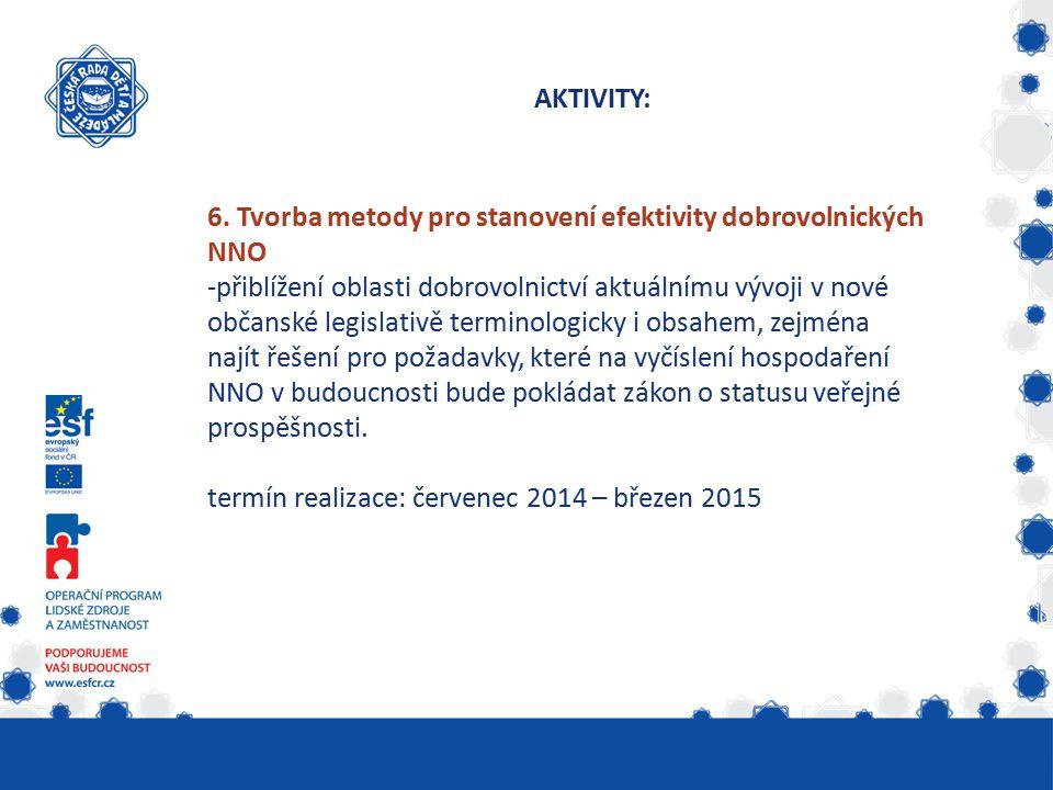 AKTIVITY: 6. Tvorba metody pro stanovení efektivity dobrovolnických NNO -přiblížení oblasti dobrovolnictví aktuálnímu vývoji v nové občanské legislati
