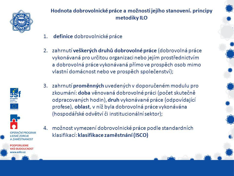 Hodnota dobrovolnické práce a možnosti jejího stanovení. principy metodiky ILO 1. definice dobrovolnické práce 2.zahrnutí veškerých druhů dobrovolné p