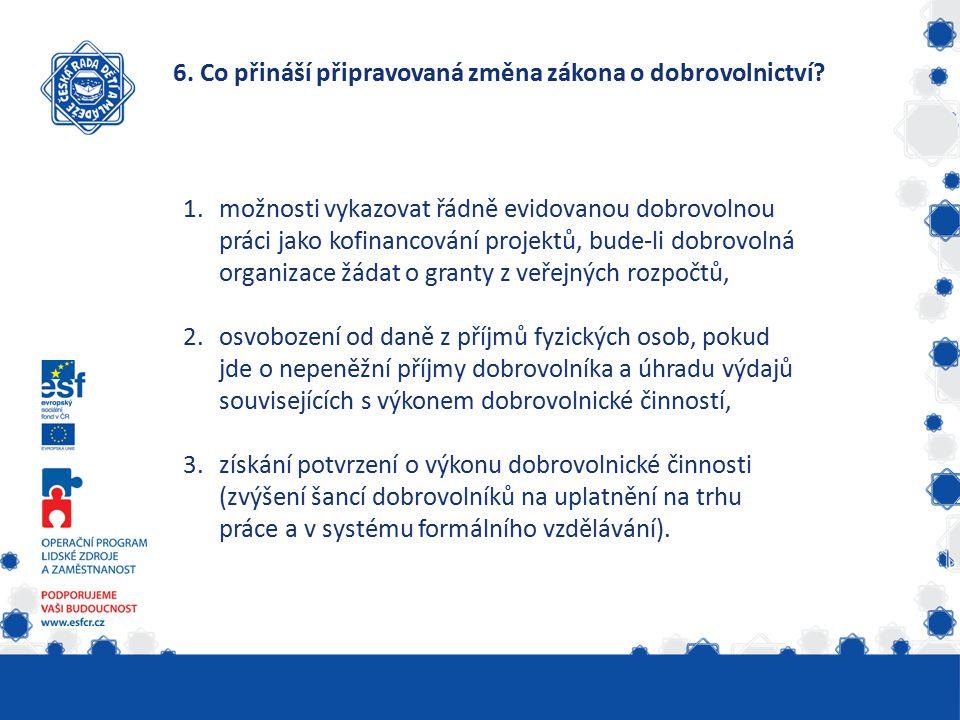 6. Co přináší připravovaná změna zákona o dobrovolnictví.