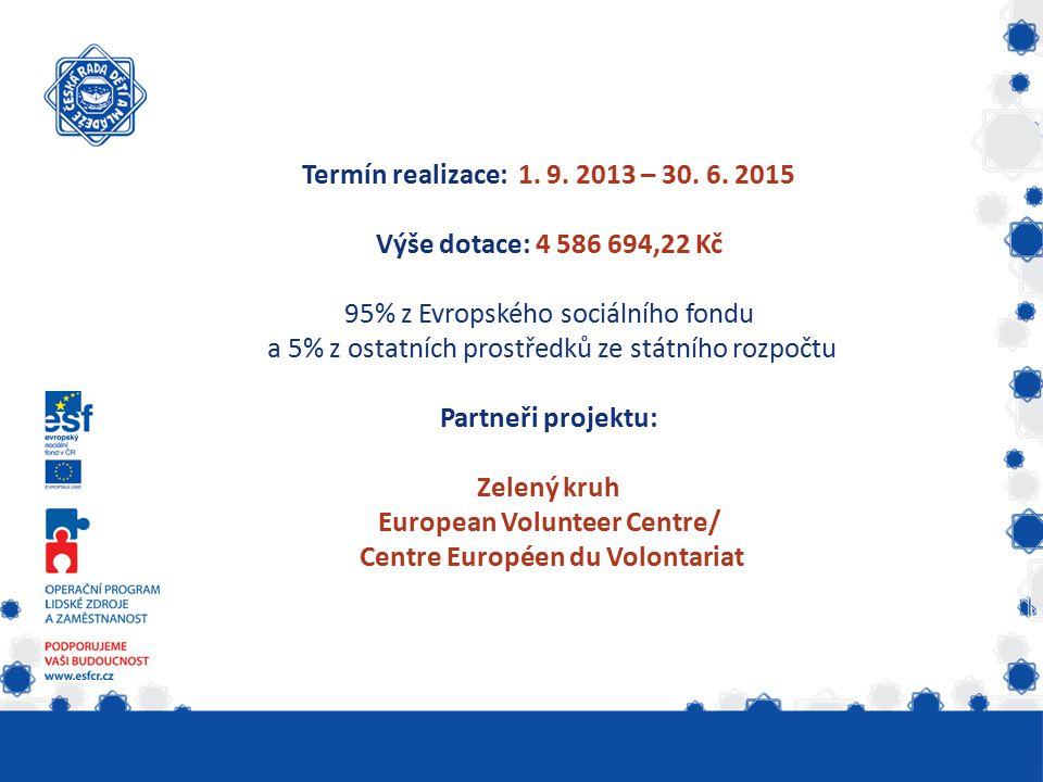 Termín realizace: 1. 9. 2013 – 30. 6. 2015 Výše dotace: 4 586 694,22 Kč 95% z Evropského sociálního fondu a 5% z ostatních prostředků ze státního rozp