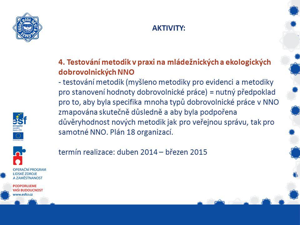 4. Testování metodik v praxi na mládežnických a ekologických dobrovolnických NNO - testování metodik (myšleno metodiky pro evidenci a metodiky pro sta