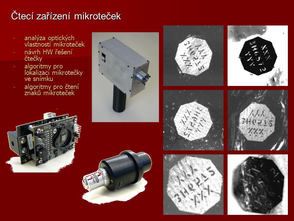 - analýza optických vlastností mikroteček - návrh HW řešení čtečky - algoritmy pro lokalizaci mikrotečky ve snímku - algoritmy pro čtení znaků mikrote