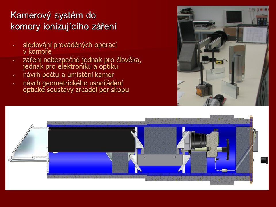 - sledování prováděných operací v komoře - záření nebezpečné jednak pro člověka, jednak pro elektroniku a optiku - návrh počtu a umístění kamer - návr