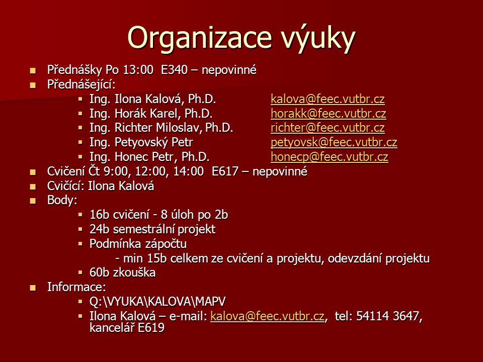Organizace výuky Přednášky Po 13:00 E340 – nepovinné Přednášky Po 13:00 E340 – nepovinné Přednášející: Přednášející:  Ing. Ilona Kalová, Ph.D.kalova@