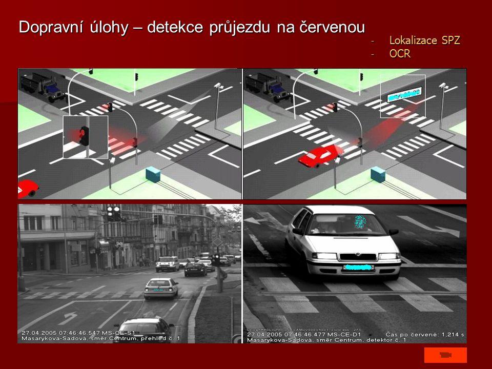 Dopravní úlohy – detekce průjezdu na červenou - Lokalizace SPZ - OCR
