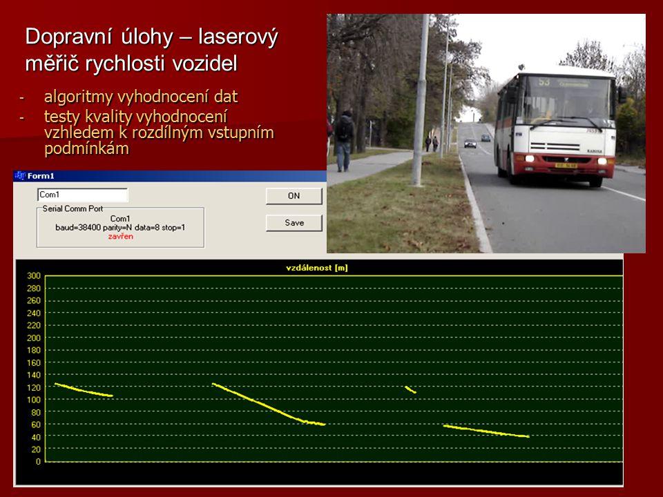 - algoritmy vyhodnocení dat - testy kvality vyhodnocení vzhledem k rozdílným vstupním podmínkám Dopravní úlohy – laserový měřič rychlosti vozidel