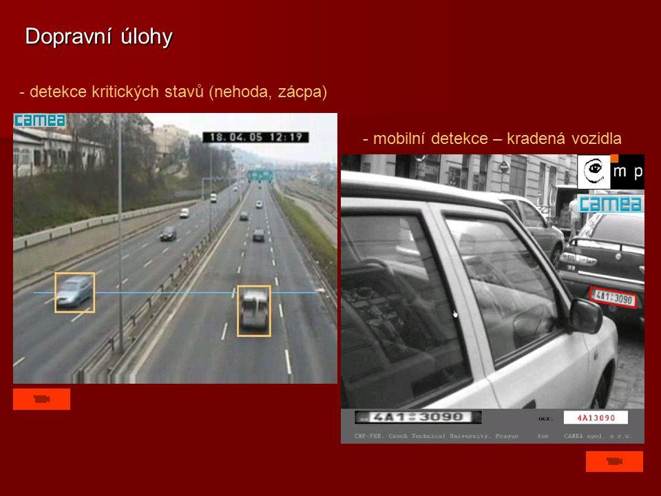 - detekce kritických stavů (nehoda, zácpa) Dopravní úlohy - mobilní detekce – kradená vozidla