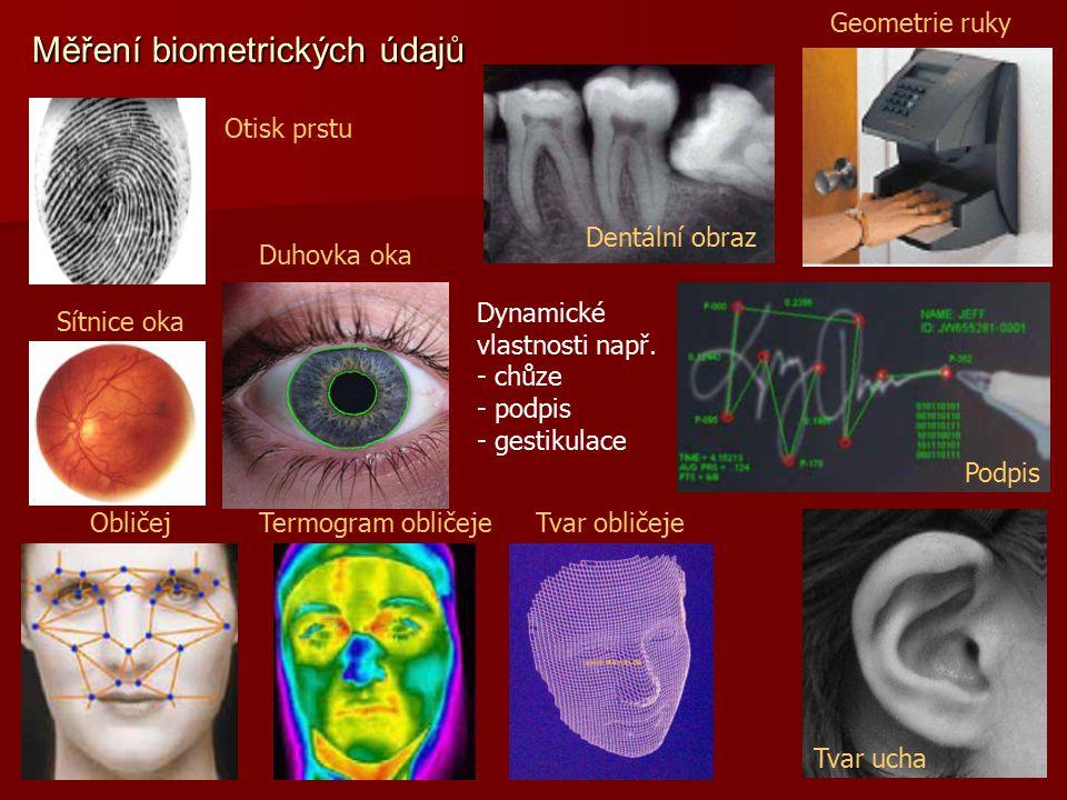 Dynamické vlastnosti např. - chůze - podpis - gestikulace Otisk prstu Obličej Geometrie ruky Dentální obraz Podpis Tvar ucha Sítnice oka Termogram obl