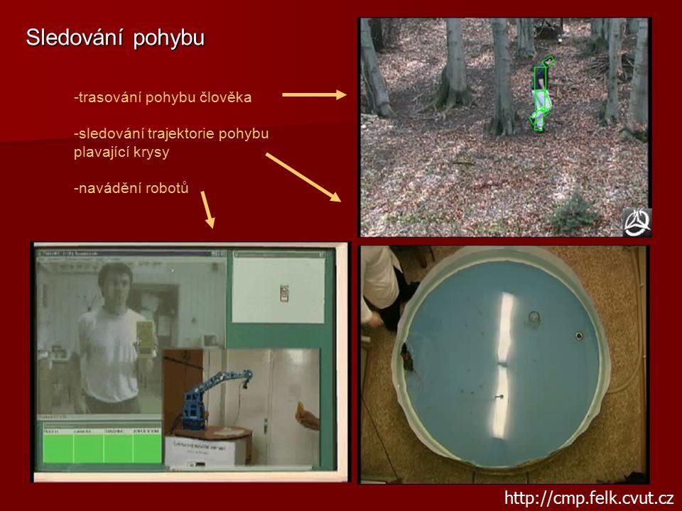 Sledování pohybu -trasování pohybu člověka -sledování trajektorie pohybu plavající krysy -navádění robotů http://cmp.felk.cvut.cz