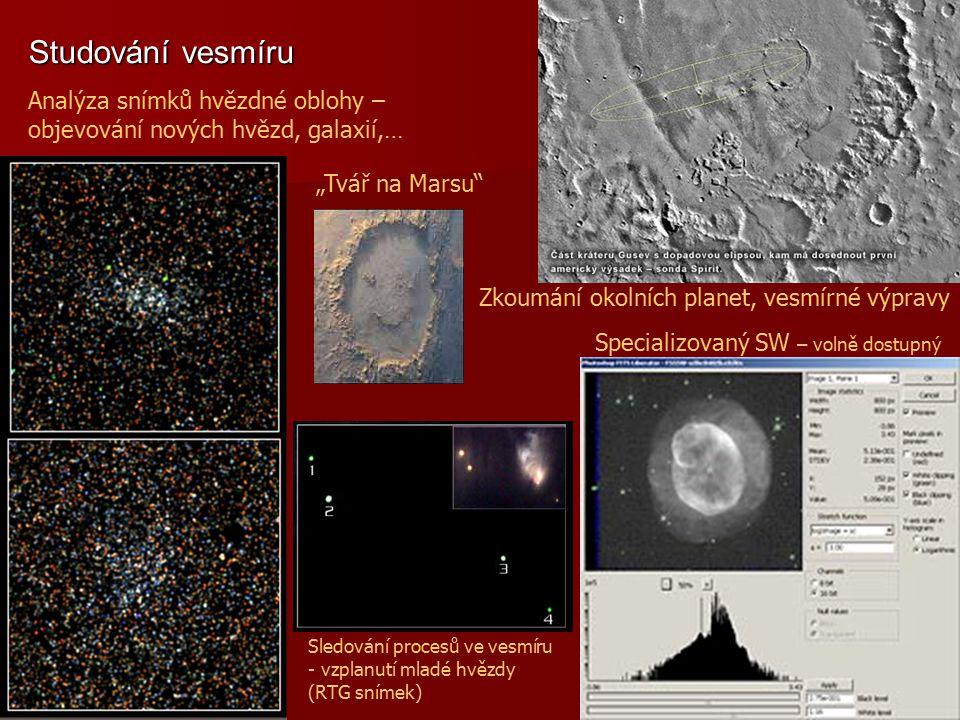 Studování vesmíru Sledování procesů ve vesmíru - vzplanutí mladé hvězdy (RTG snímek) Analýza snímků hvězdné oblohy – objevování nových hvězd, galaxií,
