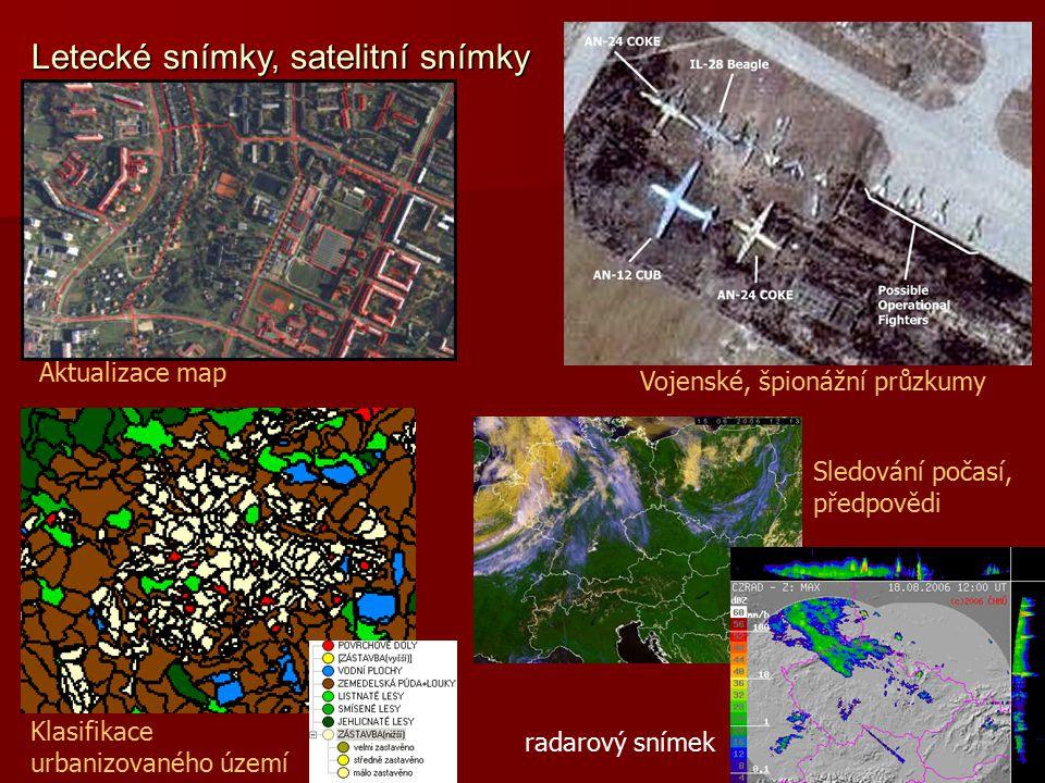Aktualizace map Klasifikace urbanizovaného území Vojenské, špionážní průzkumy Sledování počasí, předpovědi radarový snímek Letecké snímky, satelitní s