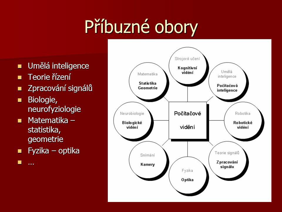Příbuzné obory Umělá inteligence Umělá inteligence Teorie řízení Teorie řízení Zpracování signálů Zpracování signálů Biologie, neurofyziologie Biologi