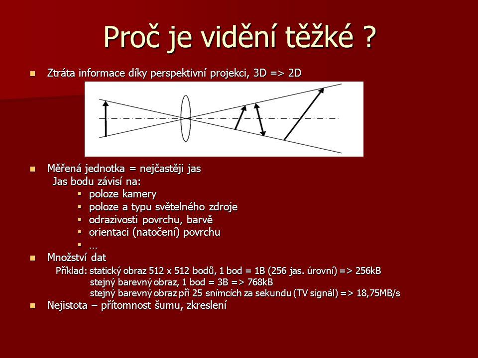 Proč je vidění těžké ? Ztráta informace díky perspektivní projekci, 3D => 2D Ztráta informace díky perspektivní projekci, 3D => 2D Měřená jednotka = n