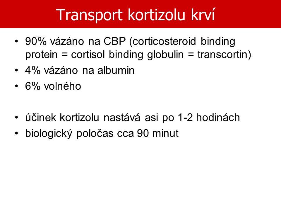 Transport kortizolu krví 90% vázáno na CBP (corticosteroid binding protein = cortisol binding globulin = transcortin) 4% vázáno na albumin 6% volného