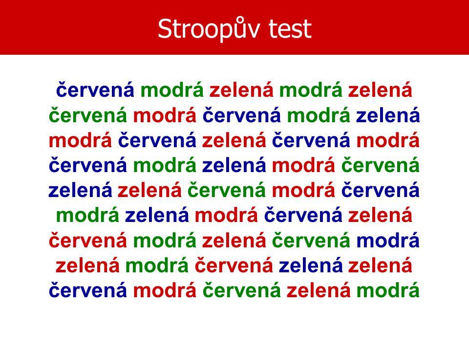 Stroopův test červená modrá zelená modrá zelená červená modrá červená modrá zelená modrá červená zelená červená modrá červená modrá zelená modrá červe
