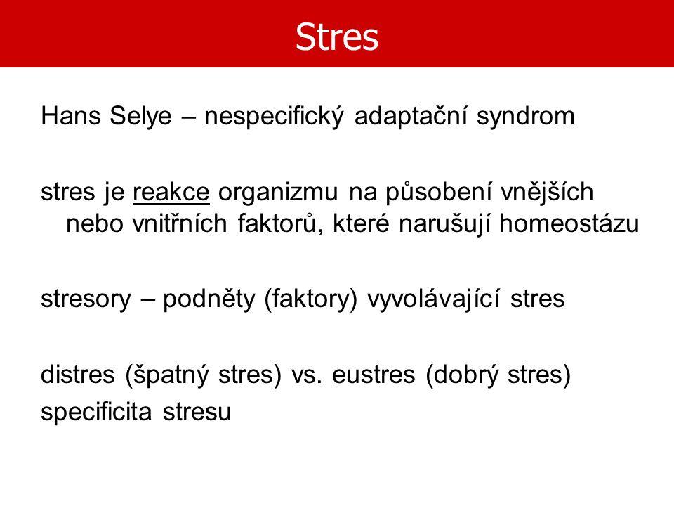 Stres Hans Selye – nespecifický adaptační syndrom stres je reakce organizmu na působení vnějších nebo vnitřních faktorů, které narušují homeostázu str