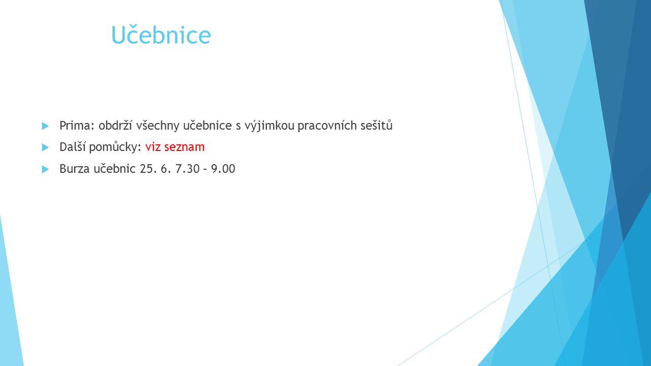 Učebnice  Prima: obdrží všechny učebnice s výjimkou pracovních sešitů  Další pomůcky: viz seznam  Burza učebnic 25. 6. 7.30 – 9.00