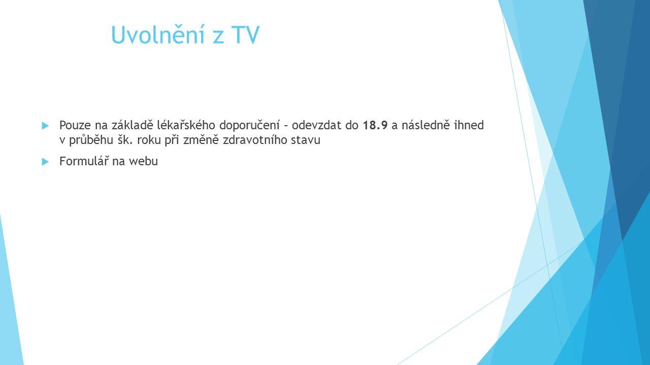Uvolnění z TV  Pouze na základě lékařského doporučení – odevzdat do 18.9 a následně ihned v průběhu šk. roku při změně zdravotního stavu  Formulář n