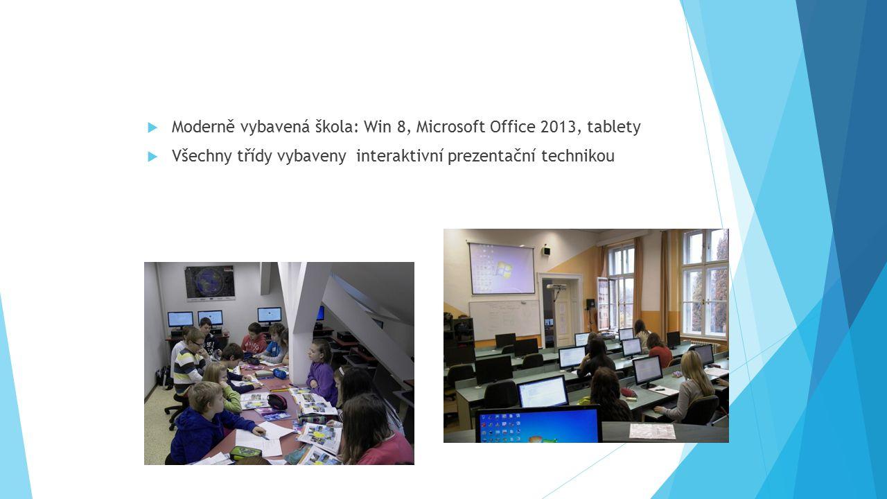  Moderně vybavená škola: Win 8, Microsoft Office 2013, tablety  Všechny třídy vybaveny interaktivní prezentační technikou