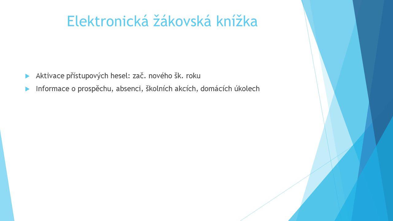 Elektronická žákovská knížka  Aktivace přístupových hesel: zač. nového šk. roku  Informace o prospěchu, absenci, školních akcích, domácích úkolech