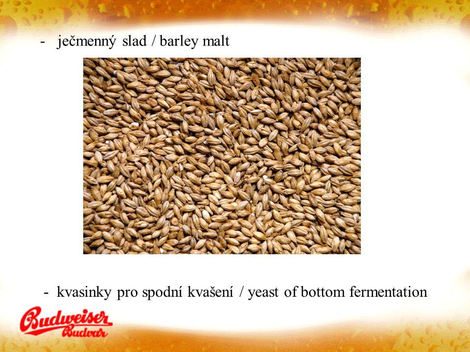 -ječmenný slad / barley malt - kvasinky pro spodní kvašení / yeast of bottom fermentation