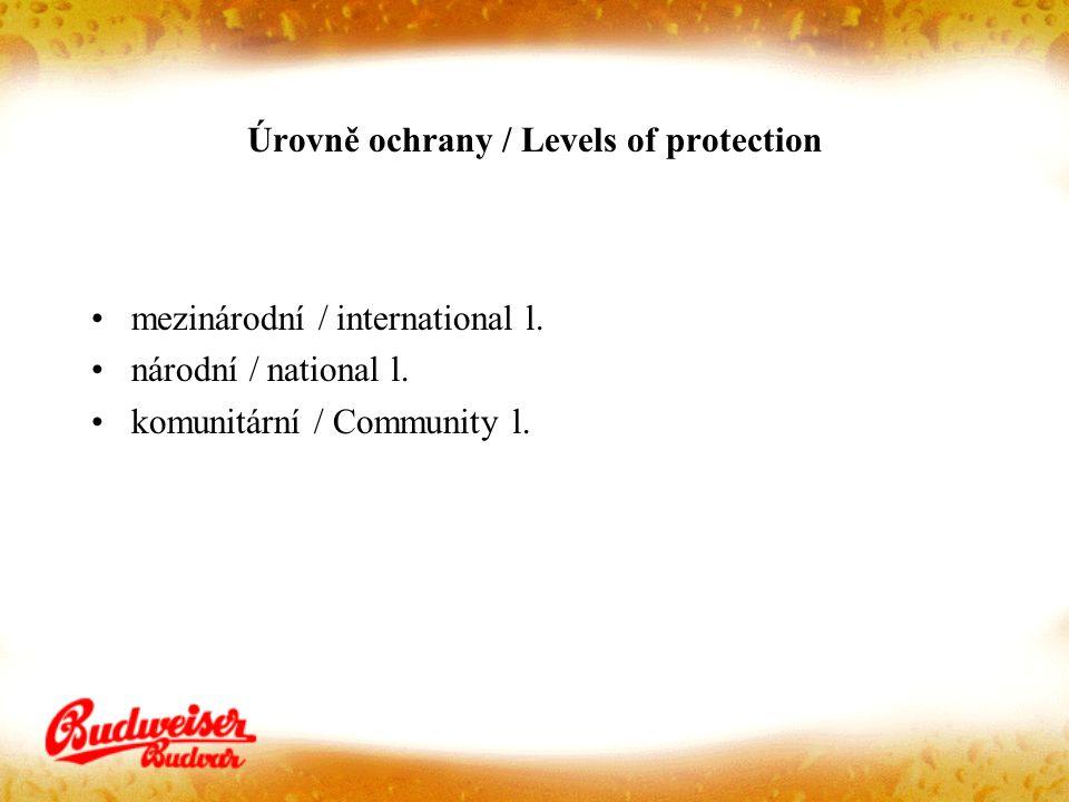 Úrovně ochrany / Levels of protection mezinárodní / international l. národní / national l. komunitární / Community l.
