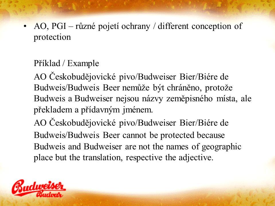 AO, PGI – různé pojetí ochrany / different conception of protection Příklad / Example AO Českobudějovické pivo/Budweiser Bier/Biére de Budweis/Budweis