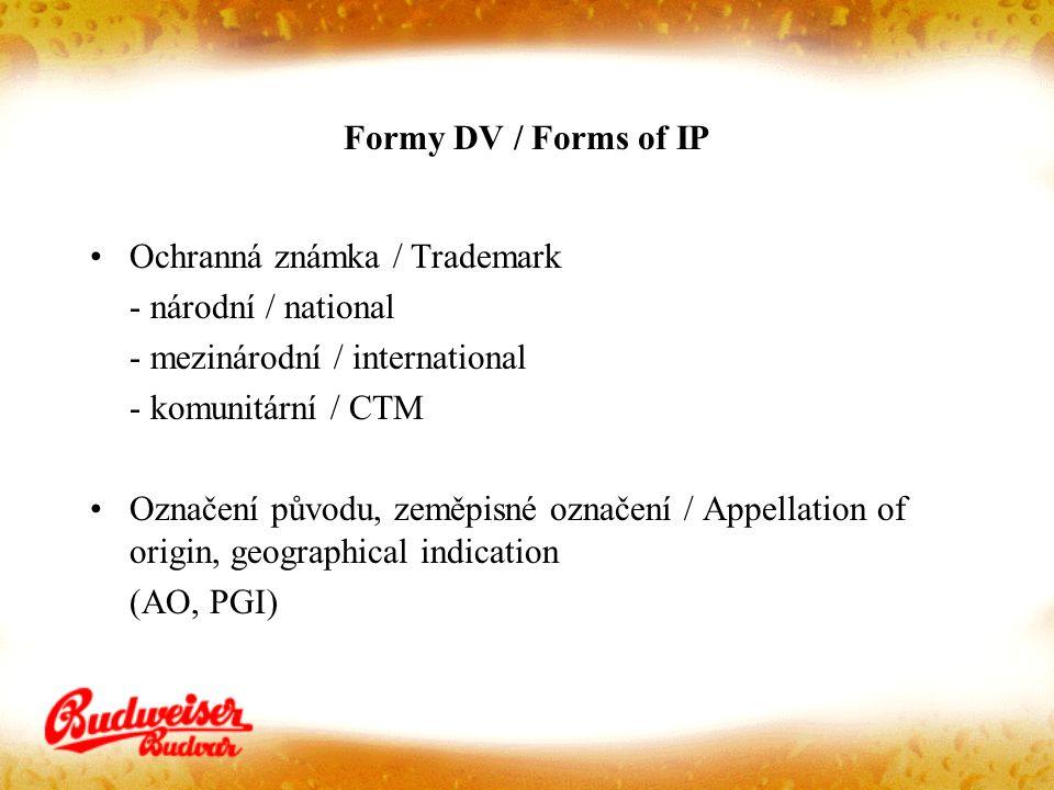 Formy DV / Forms of IP Ochranná známka / Trademark - národní / national - mezinárodní / international - komunitární / CTM Označení původu, zeměpisné označení / Appellation of origin, geographical indication (AO, PGI)