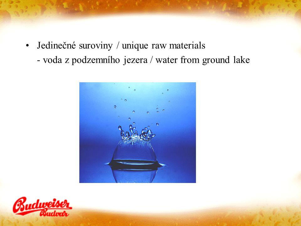 Jedinečné suroviny / unique raw materials - voda z podzemního jezera / water from ground lake