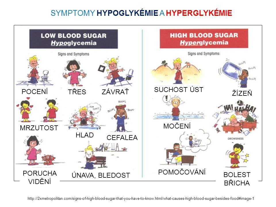 HYPOGLYKÉMIE Příčina –málo jídla, příliš inzulínu nebo příliš cvičení, aplikace inzulínu v místech s rychlejším uvolňováním do oběhu Prevence –více jídla před cvičením, –menší dávka inzulínu před cvičením Příznaky –SUBJEKTIVNÍ LEHKÉ (NĚKTEŘÍ JE NEPOCIŤUJÍ !) - svědění, pocit sucha v ústech, bledost, pocení, hlad, slabost v kolenou, nervozita, strach a pocit napětí, podrážděnost, pocit zimy, nesoustředěnost, bušení srdce, bolest hlavy.