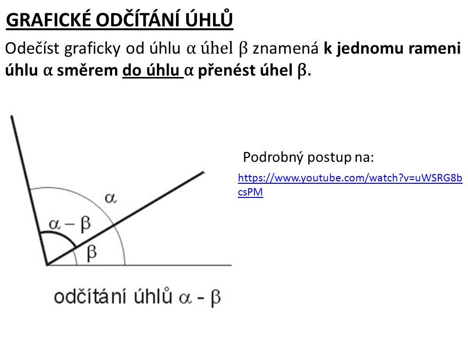 GRAFICKÉ ODČÍTÁNÍ ÚHLŮ Odečíst graficky od úhlu α úhel β znamená k jednomu rameni úhlu α směrem do úhlu α přenést úhel β. Podrobný postup na: https://