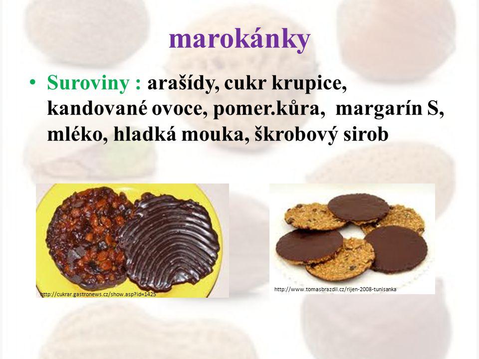 marokánky Suroviny : arašídy, cukr krupice, kandované ovoce, pomer.kůra, margarín S, mléko, hladká mouka, škrobový sirob http://cukrar.gastronews.cz/s