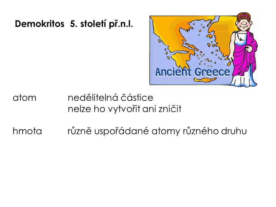 Demokritos5. století př.n.l. atomnedělitelná částice nelze ho vytvořit ani zničit hmotarůzně uspořádané atomy různého druhu