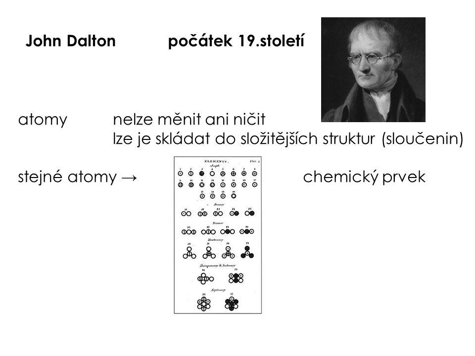 John Daltonpočátek 19.století atomynelze měnit ani ničit lze je skládat do složitějších struktur (sloučenin) stejné atomy →chemický prvek