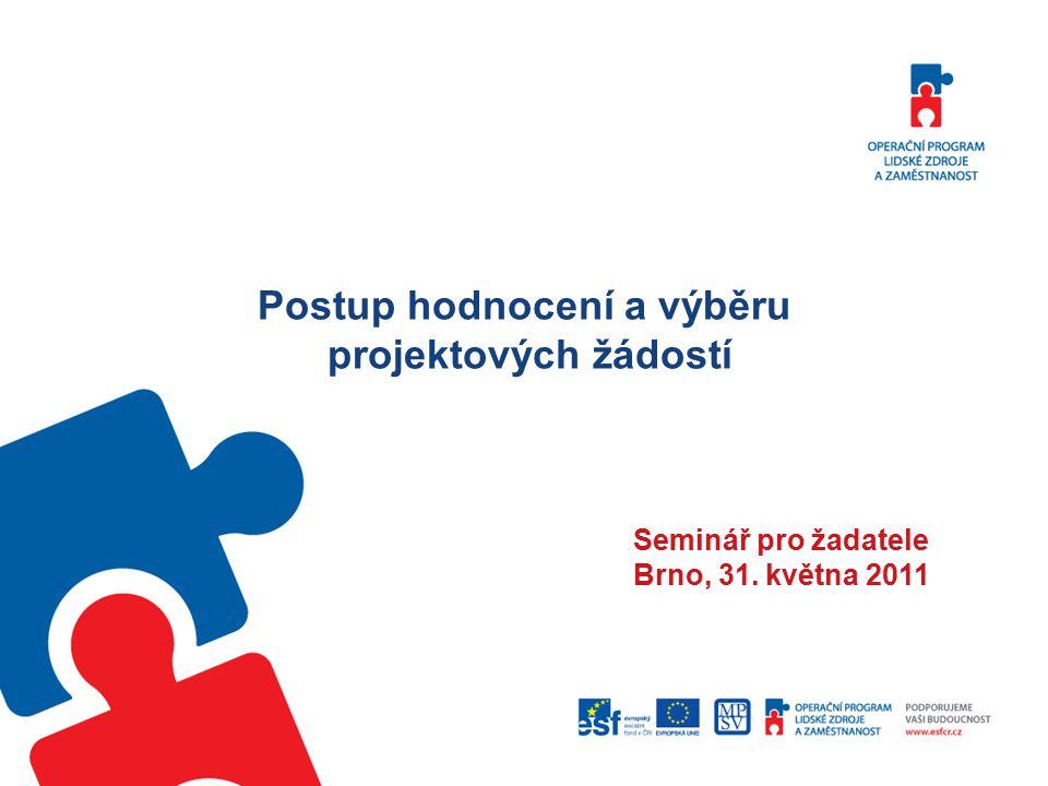 Postup hodnocení a výběru projektových žádostí Seminář pro žadatele Brno, 31. května 2011