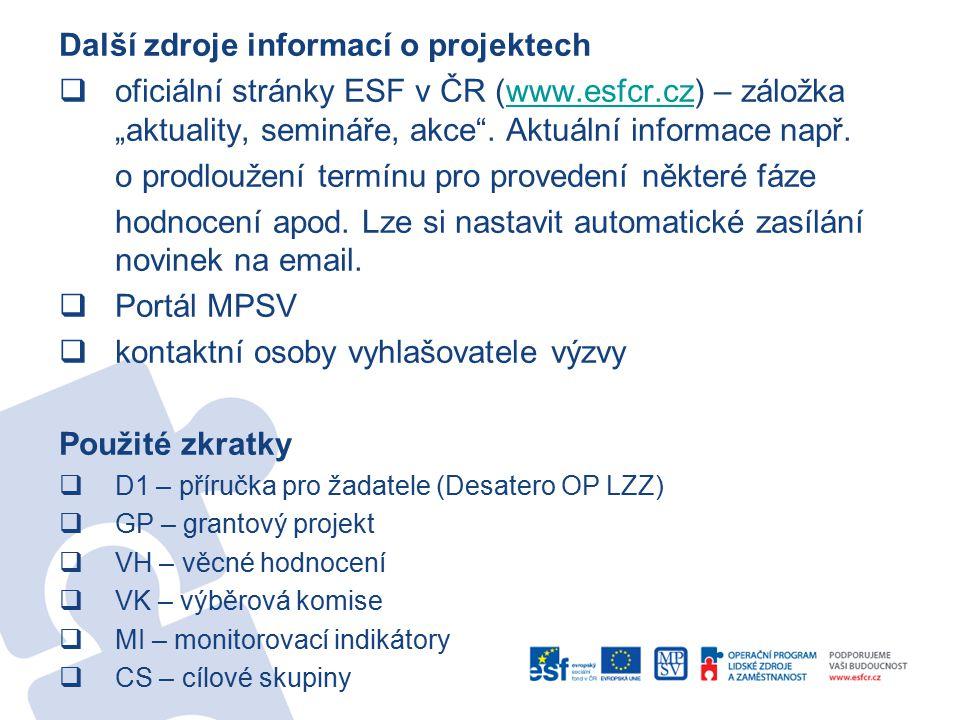 """Další zdroje informací o projektech  oficiální stránky ESF v ČR (www.esfcr.cz) – záložka """"aktuality, semináře, akce ."""