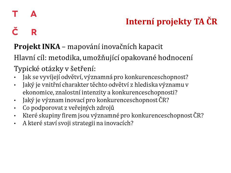 Interní projekty TA ČR Projekt INKA – mapování inovačních kapacit Hlavní cíl: metodika, umožňující opakované hodnocení Typické otázky v šetření: Jak se vyvíjejí odvětví, významná pro konkurenceschopnost.