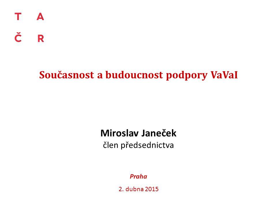 Současnost a budoucnost podpory VaVaI Miroslav Janeček člen předsednictva Praha 2. dubna 2015