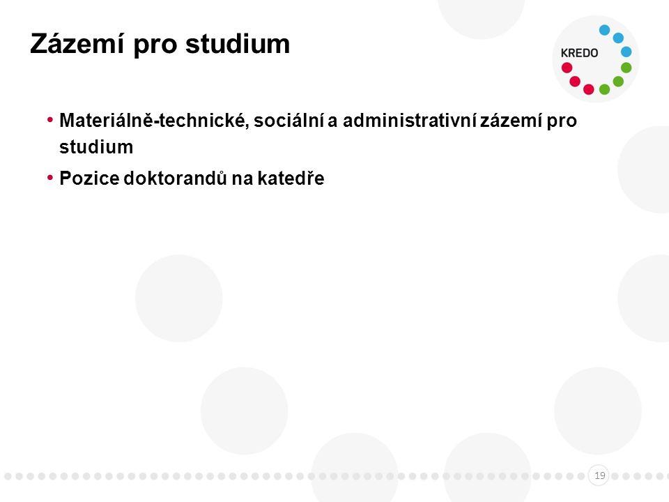 Zázemí pro studium Materiálně-technické, sociální a administrativní zázemí pro studium Pozice doktorandů na katedře 19