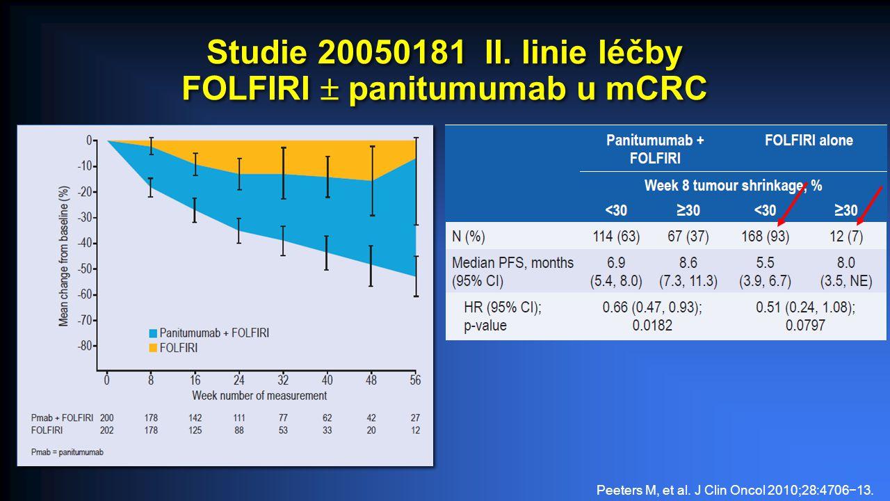 Studie 20050181 II.linie léčby FOLFIRI  panitumumab u mCRC Peeters M, et al.