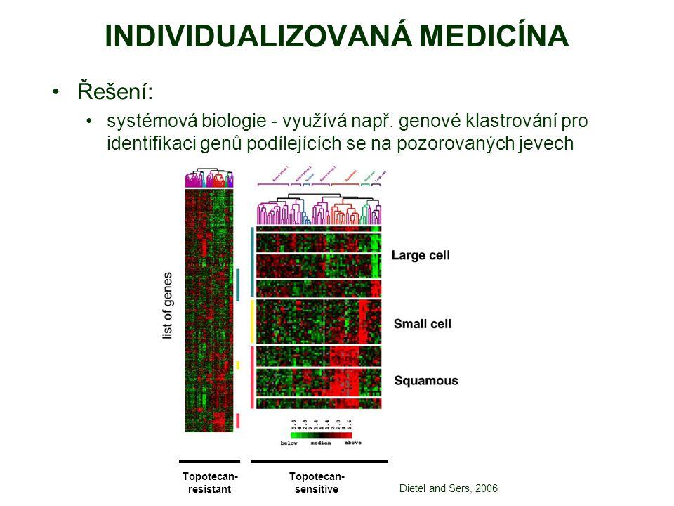 INDIVIDUALIZOVANÁ MEDICÍNA Řešení: systémová biologie - využívá např. genové klastrování pro identifikaci genů podílejících se na pozorovaných jevech