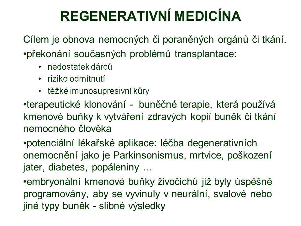 REGENERATIVNÍ MEDICÍNA Cílem je obnova nemocných či poraněných orgánů či tkání. překonání současných problémů transplantace: nedostatek dárců riziko o